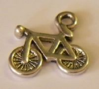 Bicycle Initial Wine Glass Charm
